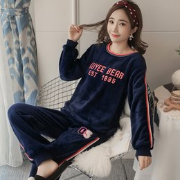 women velvet clothes NZ - Extra Thick Warm Flannel Pajamas for Women Winter Female Coral Velvet Outside Women Clothing 2018 Sleepwear At Home Cloth