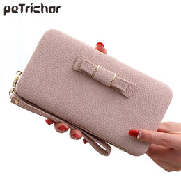 $enCountryForm.capitalKeyWord Canada - Lady Bow Women Long Clutch Wallets Phone Coin Pocket Female Money Purse Solid Ladies Wallet Girls Wrist Zipper Small Bag