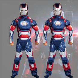 Vermelho Amarelo e Azul Meninos Muscle Iron Man Roupas Homem De Ferro Macacão Role Playing Halloween Trajes Trajes de Performance de Palco em Promoção