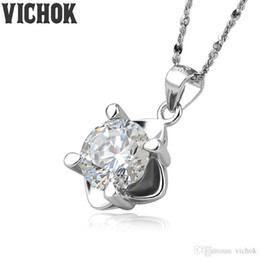 white flower necklace silver Australia - 925 Sterling Silver Pendant&Necklace Round Love of Flowers 8mm Necklace For Women Lover Fine Jewelry White Purple Colors Wholesale VICHOK