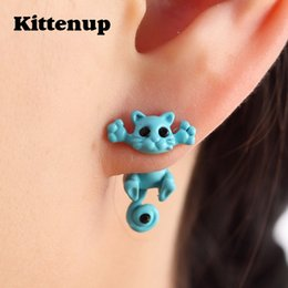 Cats stud online shopping - Kittenup New Multiple Color Classic Fashion Kitten Animal brincos Jewelry Cute Cat Stud Earrings For Women Girls Dropshipping