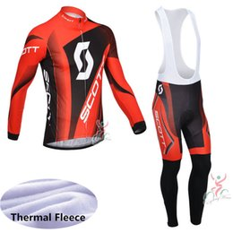 Venta al por mayor de SCOTT Cycling Winter Thermal Fleece jerseys (bib) conjuntos 100% Polyeste hombres Ropa de ciclo de secado rápido D1204