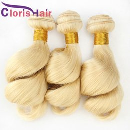 Discount curly wavy hair weave Malaysian Virgin Blonde Human Hair 3 Bundles Loose Wave Hair Extensions Cheap Bouncy Curly #613 Honey Blonde Loose Wavy