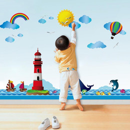 cartoon wall tiles for bathroom NZ - Wholesale 1 PCS Waterproof Ocean Lighthouse Cartoon Kids Rooms Bathroom Tiles Wall Sticker Home Decoration Free Shipping