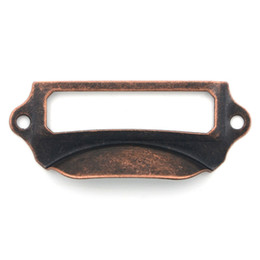 Großhandel 5 stücke 69x29mm Label Pull Halter Schublade Griffe Rahmen Schrank Antiken Messing Schrauben Rot Kupfer