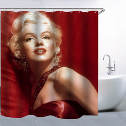 Sexy Woman Marilyn Monroe Famous Portrait Red Shower Curtain,70x70 Inch Waterproof Mildew Resistant Polyester Fabric Curtains With 12pc Hook