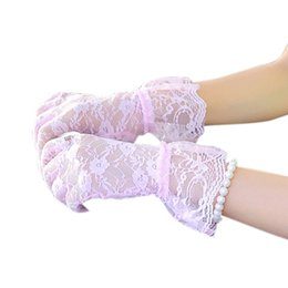 evening women costume 2018 - Fashion Women Bridal Evening Wedding Party Prom Driving Costume Lace Gloves cheap evening women costume