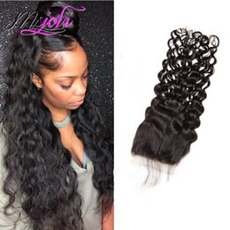 Wavy Hair Middle Part Australia - Peruvian Raw Human Hair 4X4 Lace Closure Water Wave Closure With Baby Hair Middle Free Three Part 8-24inch Wet And Wavy