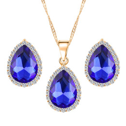 $enCountryForm.capitalKeyWord UK - H:HYDE Austria Crystal Water Drop Earrings Necklace Jewelry Set Gold Color Jewelry for Women Classic Wedding Dress Accessories
