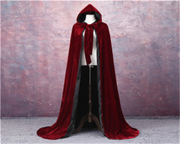 $enCountryForm.capitalKeyWord Australia - Adult Witch Long Halloween Cloaks Hood and Capes Halloween Costumes for Women Men Cosplay Costumes Velvet Cosplay Clothing