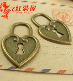 $enCountryForm.capitalKeyWord NZ - A3097 25*40MM Retro vintage bulk heart lock charms handmade DIY accessories wholesale, Antique bronze Zinc alloy metal pendant jewelry