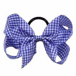 $enCountryForm.capitalKeyWord UK - 12 Pcs Lot 5 Inch Grosgrain Ribbon Elastic Hair Bands Plaid Hair Bow Headbands Girls Women Headwear Hair Accessories