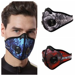 printed dust masks Canada - Mesh breathable high quality printing mask activated carbon dust proof warm and comfortable vented riding mask