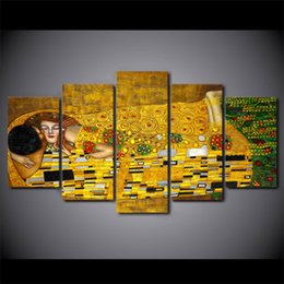 gustav klimt canvas prints NZ - 5 piece canvas art HD print Gustav Klimt artistic picture wall pictures for living room home decor free shipping UP-2005C