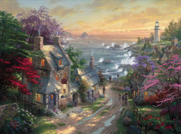 Discount oil painting thomas kinkade - The Village Lighthouse Thomas Kinkade Oil Paintings Art Wall Modern HD Print On Canvas Home Decoration No Frame