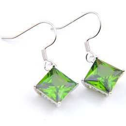 925 Dangling Earrings Canada - Wholesale 6 Pair Luckyshine mix Color 925 silver plated Square Unique Green Crystal Rhinestone Zircon Dangle Earrings For Women Party gift