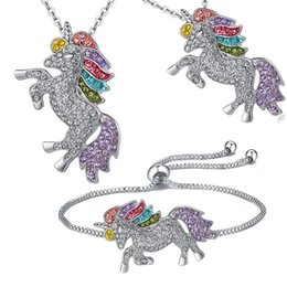Crystal Plate Wholesale Australia - Women Crystal Unicorn Horse Pendant Necklace Bracelet Plating Chain Multicolour unicorn Christmas Jewelry Lovely Gift Wholesale