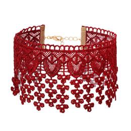 $enCountryForm.capitalKeyWord UK - Tocona Vintage Elegant Red Wine Handmade Crochet Hollow Out Palace Flower Tassel Statement Choker Necklaces For Women Lady 5158