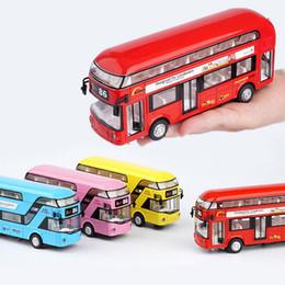 toy buses for children 2018 - London Bus Double Decker Bus Light Music Open Door Design Alloy Metal Diecast Design For Londoners Toys For Children che