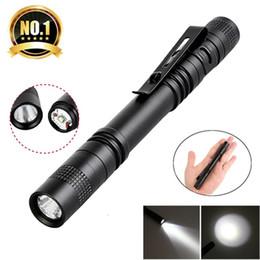 pen drive white 2019 - Pen Clip LED Flashlight 1 Mode Battery Operation 300LM Pen Light Pen Light Pocket Outdoor Waterproof Penlight Torch chea