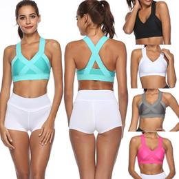 8cc530e11 Women s Sports Bra Top For Fitness Yoga Cross Strap Gym Running Padded Tank  Athletic Vest Underwear Push Up Shockproof Vest