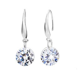 Fashion 8mm White Sapphire Round Cut Cubic Zirconia White Gold Plated Drop Dangle Earrings Women Girl's Engagement Jewelry Gift