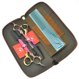 Rainbow sheaRs online shopping - 6 Inch Meisha Rainbow Dragon Handle Hair Cutting Thinning Shears Japan CR Hairdressing Scissors Salon Hairstylist Barber Tools Set HA0444