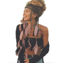 $enCountryForm.capitalKeyWord NZ - 3PCS LOT Haimeikang Festival Indian Headband Handmade Feather Headband Hippie Headdress Adjustable Women Feather Hair Bands Accessories