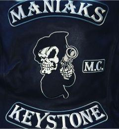 Motorcycle Jackets Free Shipping Australia - MANIAKS M.C. KEYSTONE Back Patch Rocker Biker Motorcycle Club Jacket Vest Morale MC Back of Jacket Iron on Clothing Vest Parch Free Shipping