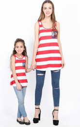 Stripe Clothes Mom NZ - Mother daughter dresses summer stlye family look clothing mom and daughter dress Lace lace vest pocket stripe back coat mommy and me clothes