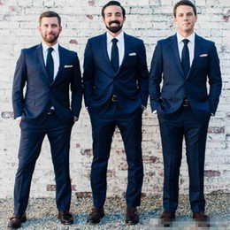 Dark Green Tie Grey Suit Canada - Fashion Custom Made Navy Blue Men Suit Bestmen Groom Navy Blue Wedding Tuxedos Formal Suits Business Men Wear(Jacket+Pants+Tie)