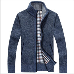 extra long clothing 2018 - Men's Knitted Sweaters Cardigans Collar Winter Wool Sweater Fashion Cardigans Male Sweaters Coat Brand Men's C