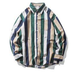 Mens patchwork plaid shirts online shopping - Vertical Stripes Color Block Patchwork Pocket Shirts Mens Autumn Hip Hop Long Sleeve Shirts Male Streetwear Shirts