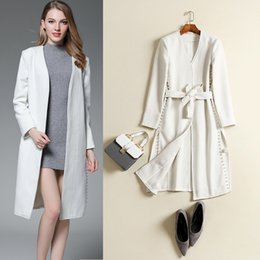 Belt Pearls Canada - High Quality White Long Women Wool Coat with Belt V-neck Long Sleeve Pearls Female Trench Coat Elegant Cashmere Woolen Outerwear