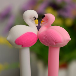 Pink Stationery NZ - 1pc Cute Beautiful Flamingo swans gel pen Kawaii stationery pens material office school supplies Writing tool Free Shipping