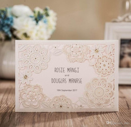 Wholesale Laser Cut Wedding invitations cards Personalized Flowers Wedding Birthday Party Business Invitations Cards with Envelope and Seal