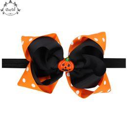 $enCountryForm.capitalKeyWord UK - Halloween Hairbow Black Orange Baby Headband White Polka Dots Kids Headband Ribbon Bow Pumpkin Todderl Girls Headwraps