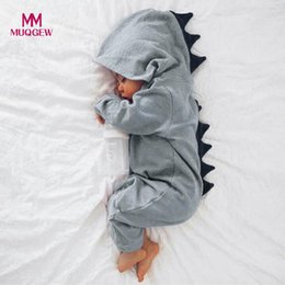 0d0a8a2e3f5 MUQGEW Newborn Infant Baby Boy Girl Dinosaur Hooded Romper Jumpsuit Outfits  Clothes Kawaii Solid Clothing jumpsuit For Unisex Y18102207