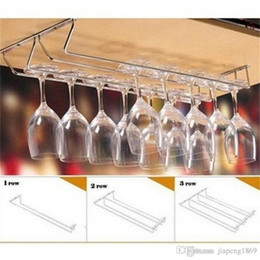 Glass Cup Holder Rack Canada - Wine cup wine glass holder Hanging Drinking Glasses Stemware Rack Under Cabinet Storage Organizer Double Row for Household