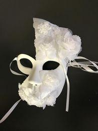 $enCountryForm.capitalKeyWord Australia - Handmade white masquerade masks latex female lace floral decor half face venice mask party wedding mask