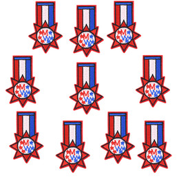 $enCountryForm.capitalKeyWord Canada - 10PCS Star Badge Patches for Clothing Bags Iron on Transfer Applique Embroidered Patch for Jackets Jeans Sewing Accessories for Kids DIY