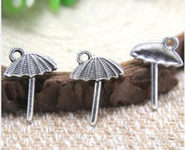 Umbrella charms online shopping - 40pcs Beach Umbrella Charms Antique Tibetan silver Beach Umbrella charm pendants x18mm