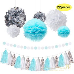 Black White Birthday Party Decorations Australia - Nicro 22 Pcs  Lot Blue Paper Flowers Fresh White Silver Tassel Garland Diy Gender Happy Birthday Party Decorative Supplies #Set08