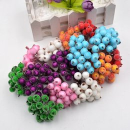 Cherry ChoColate online shopping - heads Artificial Flower pearl Pomegranate Cherry Stamble berries For Wedding Decoration DIY Scrapbooking Decorative
