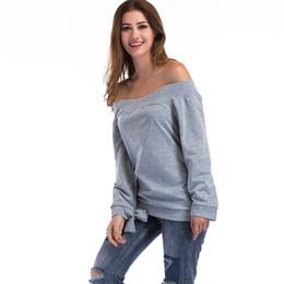 ae01b5cf4f912 2019 Sexy Women T Shirt Slash Neck Off Shoulder T-Shirt Female Solid Long  Sleeve Trim Cuffs Casual Autumn Pullover Tops Grey Tee