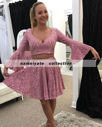 $enCountryForm.capitalKeyWord NZ - 2017 New Short Women Cocktail Dresses Two Pieces Pink Lace Appliques Flowers Sashes Party Dress Plus Size Formal Homecoming Gowns