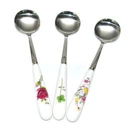 Round Kitchen Sets Australia - 3 Pcs  Set Flower Ceramics Spoons Set Stainless Steel Round Shaped Spoon Tableware Set Dinner Flatware Kitchen Household