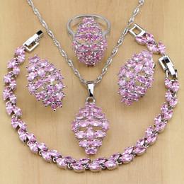 Pendants Sets Australia - whole sale925 Sterling Silver Jewelry Mystic Pink CZ White Zircon Princess Jewelry Sets For Women Earrings Pendant Necklace Ring Bracelet