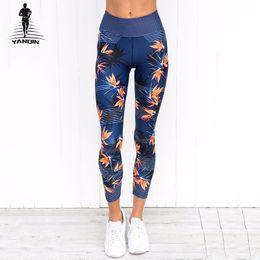 Leggings Sport Pants Canada - YANQIN High Waist Yoga Pants Women's Fitness Sport Leggings Stripe Printing Elastic Gym Workout Tights Sports Running Trousers