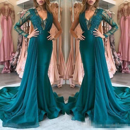 $enCountryForm.capitalKeyWord NZ - Illusion Bodice Hunter Mermaid Evening Dresses Long Sleeve V Neck Sweep Train Appliques Long Formal Prom Party Gowns Special Occasion Dress